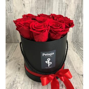 Τριαντάφυλλο  forever κόκκινο κυλινδρικό κουτί 9 τεμάχια.