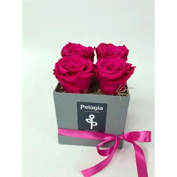Forever Rose dark pink in a box 4 pieces