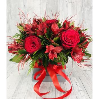 Red arrangement in box