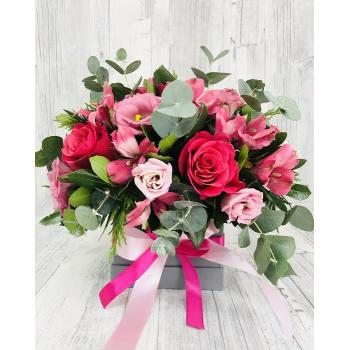 Pink arrangement in box