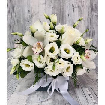 White arrangement in box
