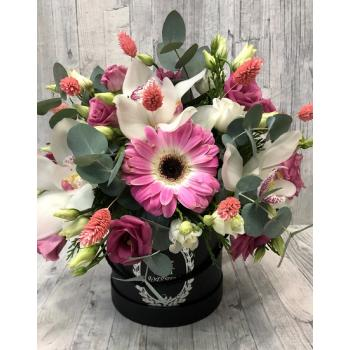 Pink-white arrangement in round pot
