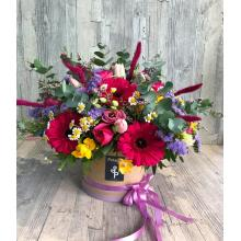 Extra large multicolor arrangement in round ecological box
