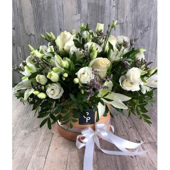 Extra large white arrangement in round ecological box