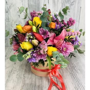 Multicolor arrangement in round ecological box