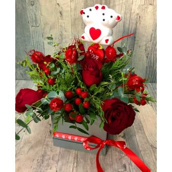 Box with 7 red roses