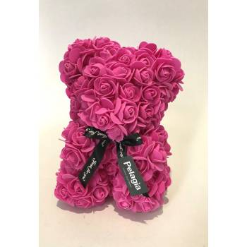 Dark pink rose bear