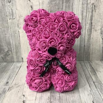 Dark pink rose bear