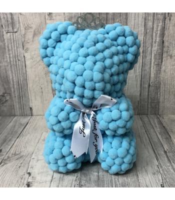 Blue rose bear pom pom
