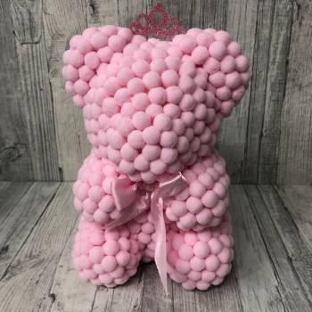Pink rose bear pom pom