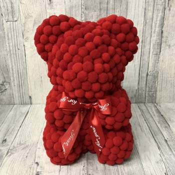 Red Rose Bear pom pom