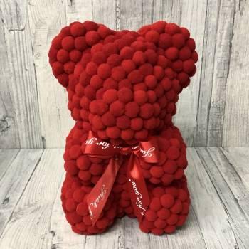 Κόκκινο αρκουδάκι pom pom