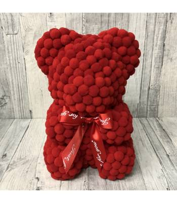 Red Rose Bear pom pom