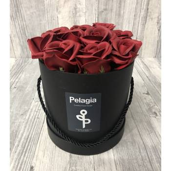 Dark red aromatic soap roses in black box. (medium 15x15)