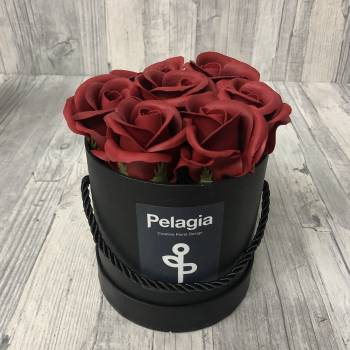 Dark red aromatic soap roses in black box.( small 12x12)