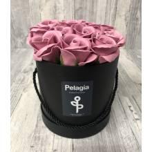 Puce aromatic soap roses in black box. (medium 15x15)