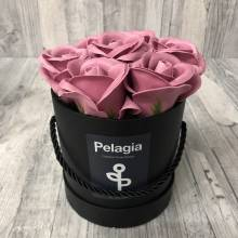 Puce aromatic soap roses in black box. (small 12x12)
